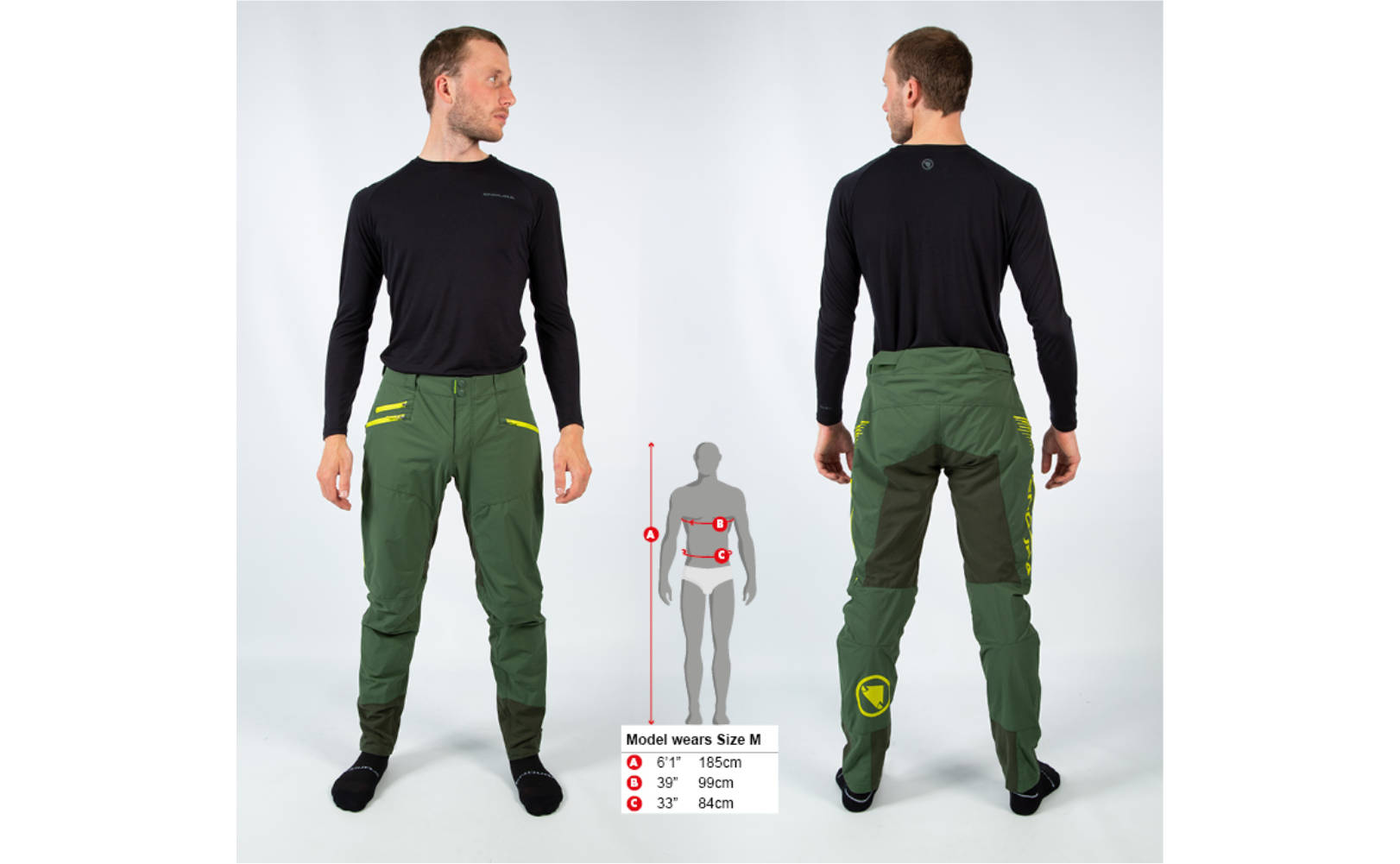 Endura SingleTrack II Trouser in Forest Green - Front and back, modelled