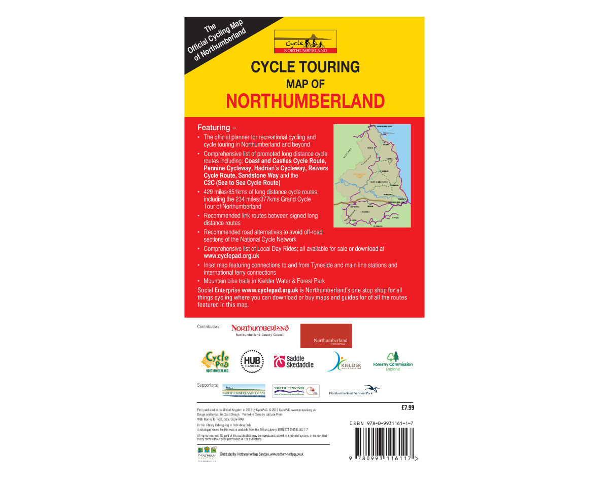 Cycle Touring Map of Northumberland