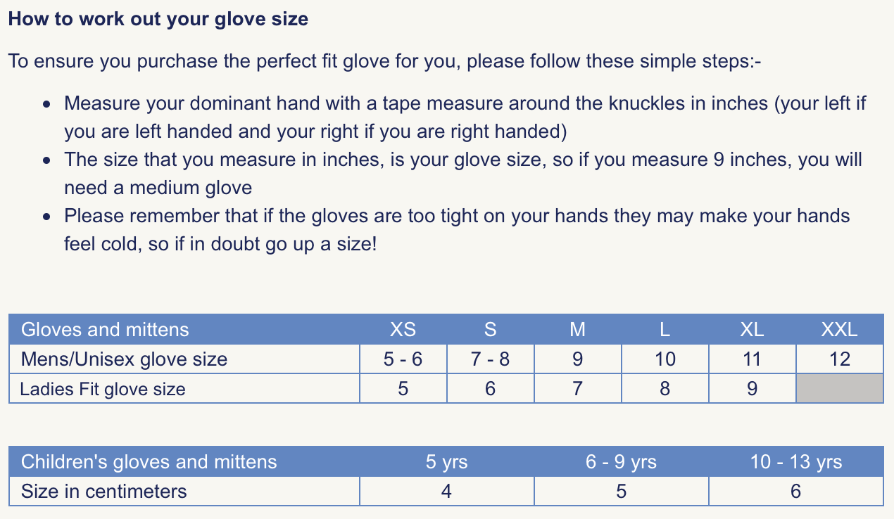 sealskinz glove size guide